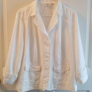 Studio Works white linen jacket 3/4 sleeve  SZ L